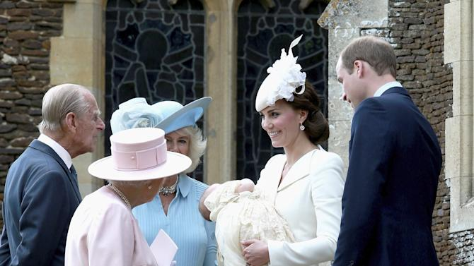 Britain's Queen Elizabeth is seen standing with members of the royal family after the christening of Princess Charlotte