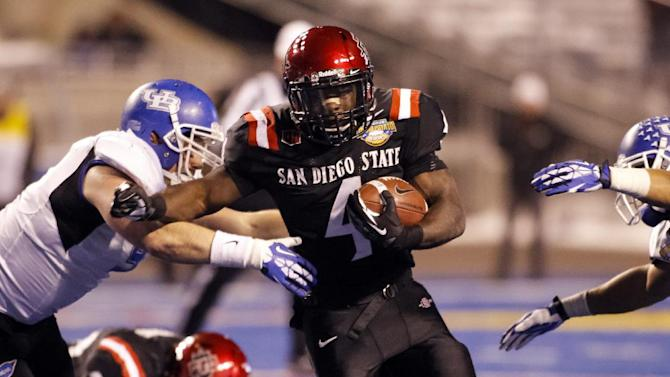 San Diego State running back Adam Muema (4) runs the ball during the second half of the Famous Idaho Potato Bowl NCAA college football game against Buffalo in Boise, Idaho, on Saturday, Dec. 21, 2013. San Diego State won 49-24