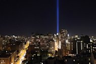 "New York City's ""Tribute In Light"" shines into the sky over Manhattan on September 10, 2012 in New York City. The lights, in tribute to those killed in the 9/11 attacks, were tested a day before ceremonies marking the 11th anniversary of the attacks of September 11, 2001"