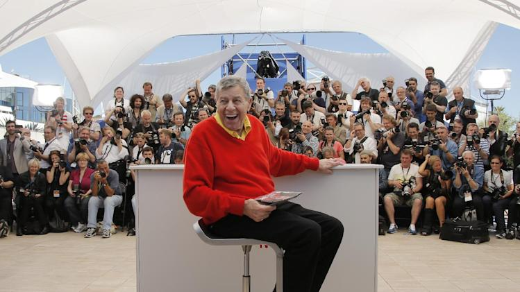 Comedian Jerry Lewis poses for photographers during a photo call for the film Max Rose at the 66th international film festival, in Cannes, southern France, Thursday, May 23, 2013. (AP Photo/Francois Mori)