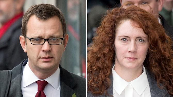 A combination of pictures created on October 31, 2013 shows former News of the World editor and Downing Street communications chief Andy Coulson (L) and Rebekah Brooks (R), former News International chief executive