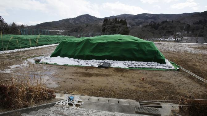 In this Monday, March 4, 2013 photo, piles of radiation-contaminated waste sit in a field in the abandoned town of Namie, outside the exclusion zone surrounding the Fukushima Dai-ichi nuclear plant in Japan. Two years after the triple calamities of earthquake, tsunami and nuclear disaster ravaged Japan's northeastern Pacific coast, radioactive and chemical contamination remains a threat as clean-up projects face troubles with organized crime and mishandling. (AP Photo/Greg Baker)