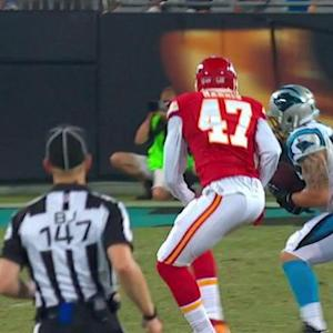 Kansas City Chiefs quarterback Aaron Murray intercepted by Carolina Panthers linebacker A.J. Klein