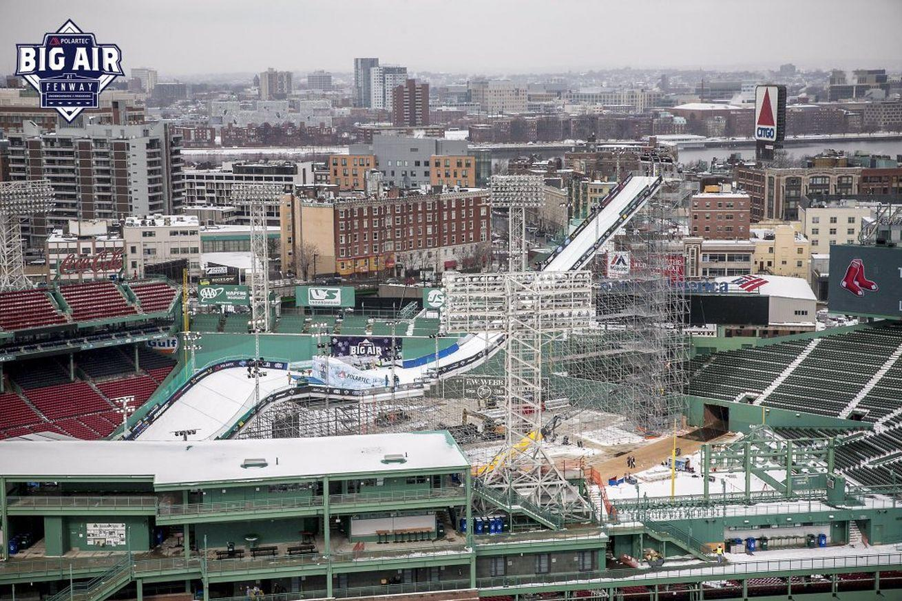 This huge snow ramp in Fenway Park is 4 times as tall as the Green Monster