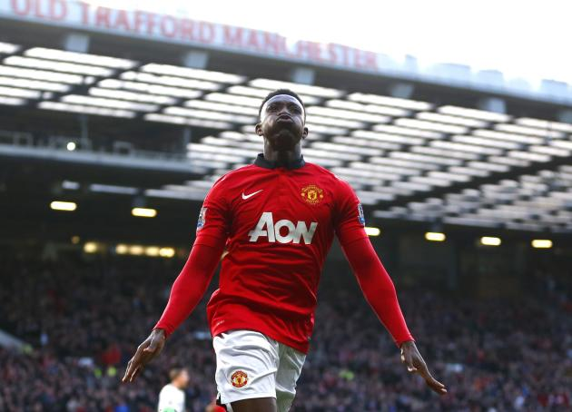 Manchester United's Welbeck celebrates after scoring against West Ham during their English Premier League soccer match in Manchester