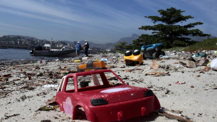 A toy is seen at Pombeba island in the Guanabara Bay in Rio de Janeiro