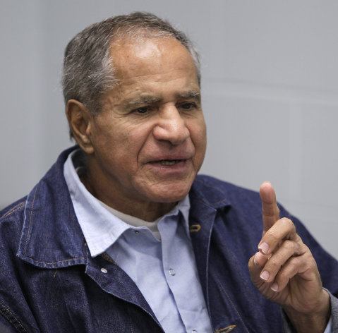Sirhan Sirhan, now 66, convicted of assassinating Sen. Robert F. Kennedy in 1968, gestures during a Board of Parole Suitability Hearing Wednesday, March 2, 2011, at the Pleasant Valley State Prison in Coalinga, Calif. A panel of two California parole board commissioners denied parole to Sirhan.