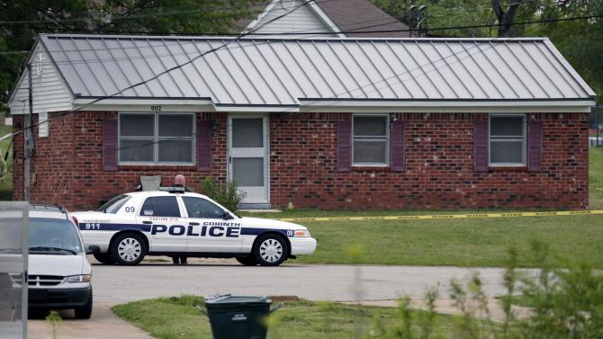 """A City of Corinth police car prevents access to a house in the West Hills Subdivision in Corinth, Miss. on Thursday morning, April 18, 2013. Law enforcement officials were blocking off the dwelling after taking Paul Kevin Curtis of Corinth, Mississippi into custody Wednesday under the suspicion of sending letters covered in ricin to U.S. President Barack Obama and Mississippi Sen. Roger Wicker (R-MS). Curtis was arrested at his home in Corinth, Mississippi, and is """"believed to be responsible for the mailings of the three letters sent through the U.S. Postal Inspection Service which contained a granular substance that preliminarily tested positive for ricin,"""" the Justice Department said in a statement. (AP Photo/Rogelio V. Solis)"""