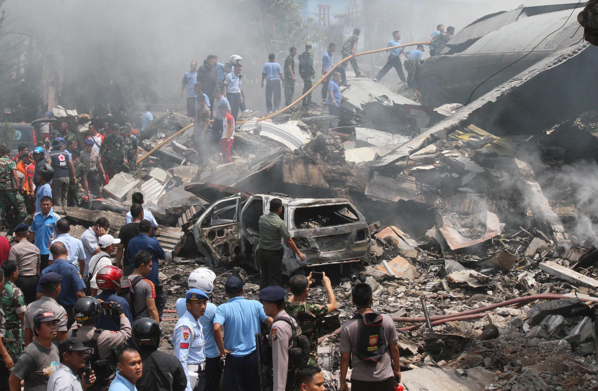 Indonesia military transport plane crashes in Medan; 37 dead