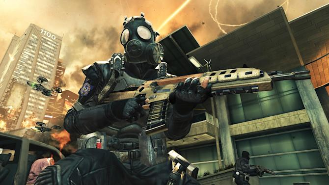 "FILE - This video game image released by Activision shows a scene from ""Call of Duty: Black Ops II."" When the latest installment in the wildly popular ""Call of Duty"" video game franchise is released Tuesday, Nov. 13, 2012, it will transport fans to a completely new place: the future. Setting half of ""Call of Duty: Black Ops II"" in the year 2025 could be the riskiest gambit yet for the successful shoot-'em-up series known for its relentless past-and-present realism. (AP Photo/Activision, File)"