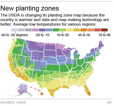 Map shows the USDA's new plant zone map