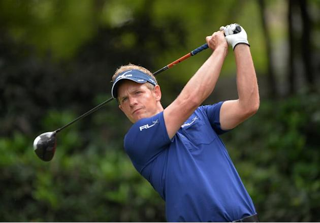Luke Donald of England tees off at the 3rd hole during day two of the WGC-HSBC Champions tournament at the Shanghai Sheshan International Golf Club on November 1, 2013