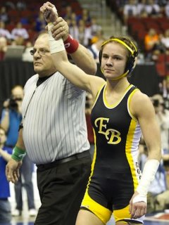 Eddyville-Blakesburg wrestler Megan Black — Associated Press