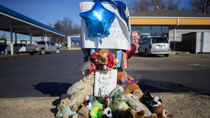 A memorial to Antonio Martin, an armed man fatally shot by police late on Tuesday,  is seen in Berkeley