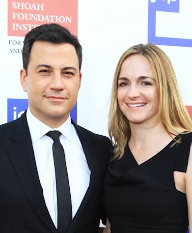 Jimmy Kimmel and Molly McNearney arrive at the USC Shoah Foundation Institute Ambassadors for Humanity Gala held at the Grand Ballroom at Hollywood & Highland Center on June 6, 2012 -- Getty Images