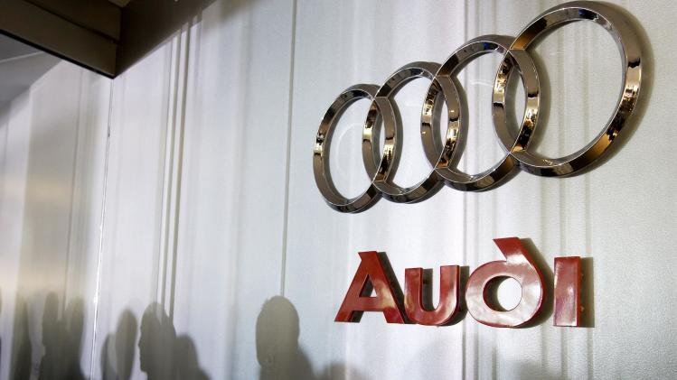 File photo of an Audi logo sign inside the lobby at the U.S. headquarters building of the Volkswagen Group of America in Herndon