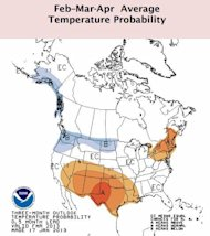 This map shows areas that are likely to have warmer than average temperatures in shades of orange, with darker colors corresponding to greater likelihoods (33 means a 33% chance for above average temps). Blue areas show where there may be lower
