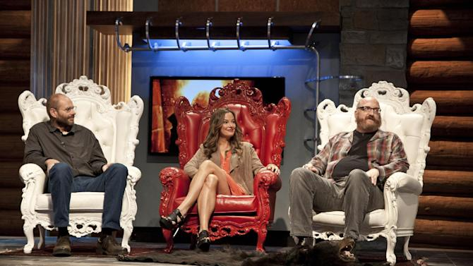 "This publicity image released by AMC shows, from left, Paul Rhymer, Catherine Coan and Brian Posehn, judges on the taxidermy competition series ""Immortalized,"" premiering Feb. 14, 2013, at 10 p.m. EST on AMC. (AP Photo/AMC, Allan Amato)"