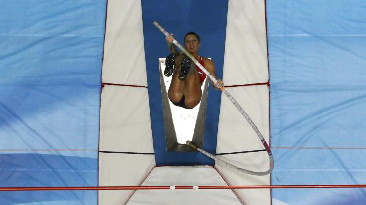 Czech Republic's Svobodova competes in the women's pole vault final at world indoor athletics championships in Sopot