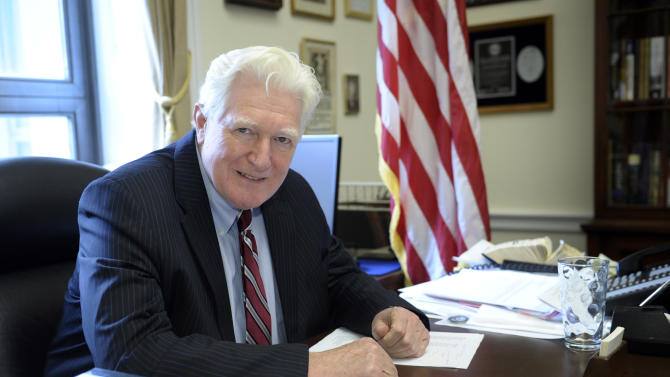 Rep. James Moran, D-Va. sits at his desk in his office on Capitol Hill in Washington, Wednesday, Jan. 15, 2014. Moran, a Northern Virginia Democrat, ranking Member on the House Appropriations Interior Subcommittee and senior member of the Defense Appropriations Subcommittee, announced that he will not seek re-election. (AP Photo/Susan Walsh)