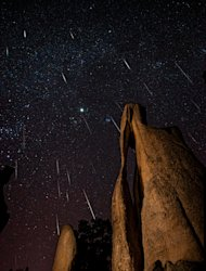 SPACE.com reader Jason J. Hatfield sent in a photo of the Geminids meteor shower over Needle's Eye in Custer State Park, SD, taken in December 2012.