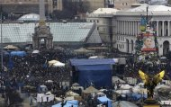 A general view shows anti-government protesters in the Independence Square in Kiev February 23, 2014. REUTERS/Yannis Behrakis