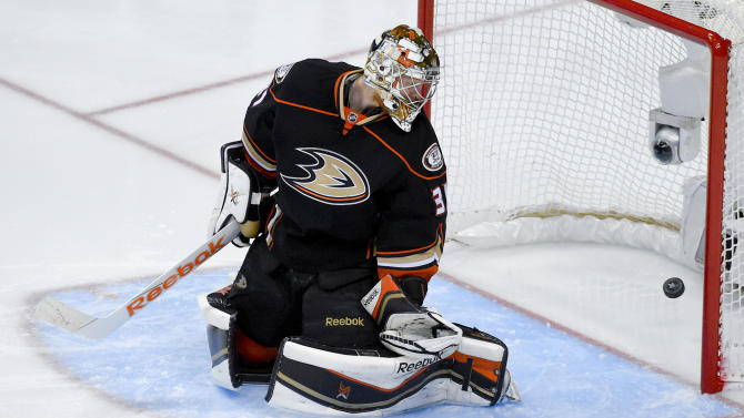 Anaheim Ducks goalie Frederik Andersen watches Chicago Blackhawks left wing Teuvo Teravainen's goal during the second period in Game 5 of the Western Conference final of the NHL hockey Stanley Cup playoffs in Anaheim, Calif., on Monday, May 25, 2015. (AP Photo/Mark J. Terrill)