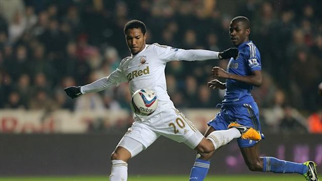 Jonathan de Guzman, left, is delighted to reach a cup final with Swansea