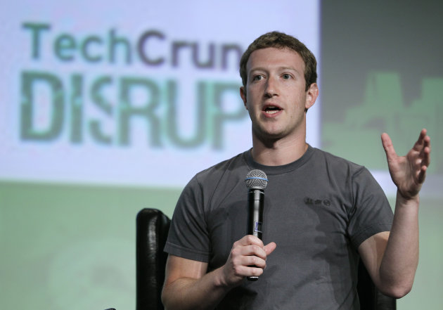 Facebook CEO Mark Zuckerberg speaks during a &quot;fireside chat&quot; at a conference organized by technology blog TechCrunch in San Francisco, Tuesday, Sept. 11, 2012. Zuckerberg gave his first interview since the company&#39;s rocky initial public offering in May. (AP Photo/Eric Risberg)