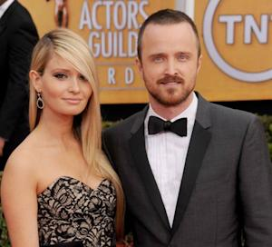 Aaron Paul and Lauren Parsekian arrive at the 19th Annual Screen Actors Guild Awards at The Shrine Auditorium, Los Angeles on January 27, 2013 -- Getty Images