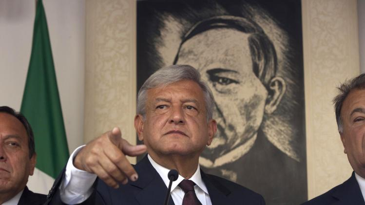 Andres Manuel Lopez Obrador, presidential candidate for the Democratic Revolution Party (PRD), speaks during a news conference in Mexico City, Friday, July 06, 2012. The official count in Mexico's presidential election concluded Friday with results showing that presidential candidate Enrique Pena Nieto of the Institutional Revolutionary Party, or PRI,  got about 3.3 million more votes than his closest rival, Lopez Obrador, giving him a 6.6 percent lead in the former ruling party's bid to regain power. Lopez Obrador said Friday he will challenge the results.(AP Photo/Alexandre Meneghini)