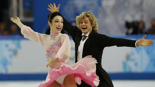 Meryl Davis and Charlie White compete in the ice dancing short dance programme (Reuters)