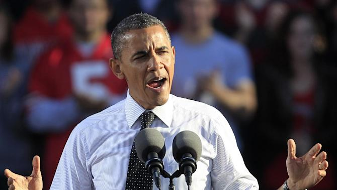 FILE - In this Oct. 9, 2012 file photo, President Barack Obama speaks in Columbus, Ohio. It's not just President Barack Obama's lackluster debate that has some Democrats on edge less than a month from Election Day. Party loyalists, both in Washington and in battleground states, fret that Obama's campaign isn't aggressive enough in blocking Romney's pivot to the political center, and they fear Romney's new efforts to show a softer side give him an opening with female voters. (AP Photo/Tony Dejak, File)