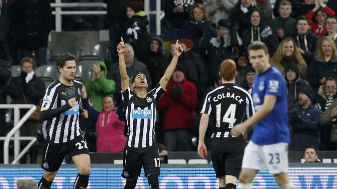 Newcastle United's Ayoze Perez celebrates after scoring a goal against Everton during their English Premier League soccer match at St James' Park in Newcastle