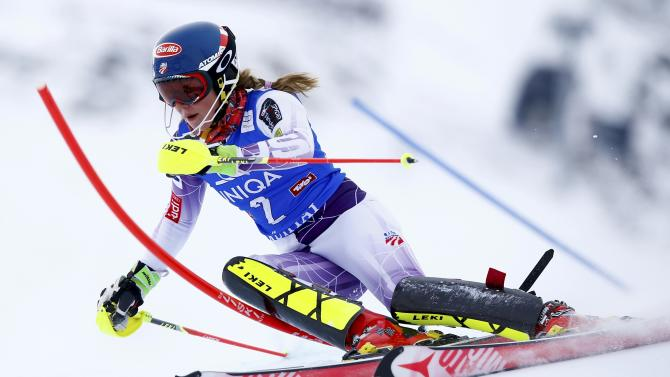 Shiffrin from the US clears a gate during the first run of the World Cup Women's Slalom race in Kuehtai ski resort