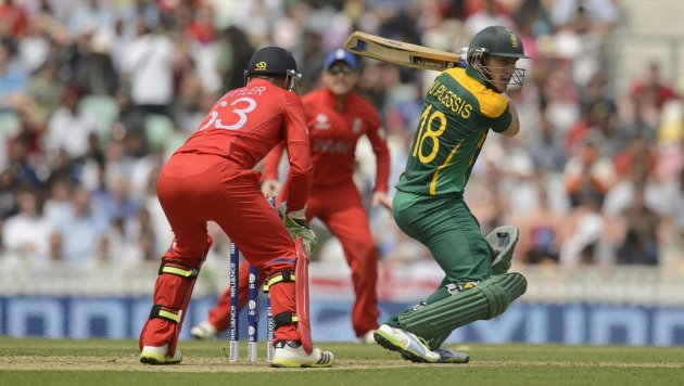 South Africa's Du Plessis edges a ball to England's Buttler and is dismissed during the ICC Champions Trophy semi final match at The Oval cricket ground, London