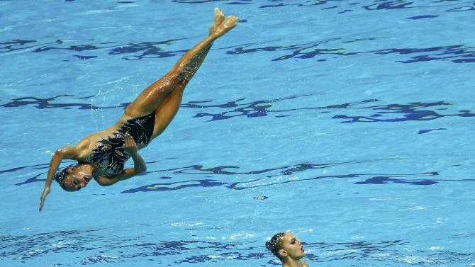 Team Greece performs during the women's synchronised swimming free routine combination final at the Aquatics World Championships in Kazan