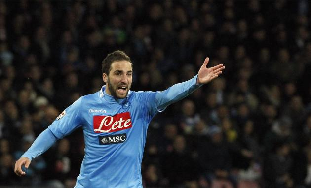 Napoli's Higuain gestures during the match against AS Roma during their Serie A soccer match at San Paolo stadium in Naples