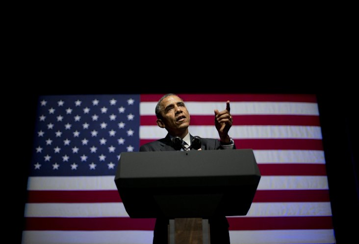 FILE - This June 17, 2014, file photo shows President Barack Obama speaking at the Democratic National Committee's (DNC) annual Lesbian, Gay, Bisexual...
