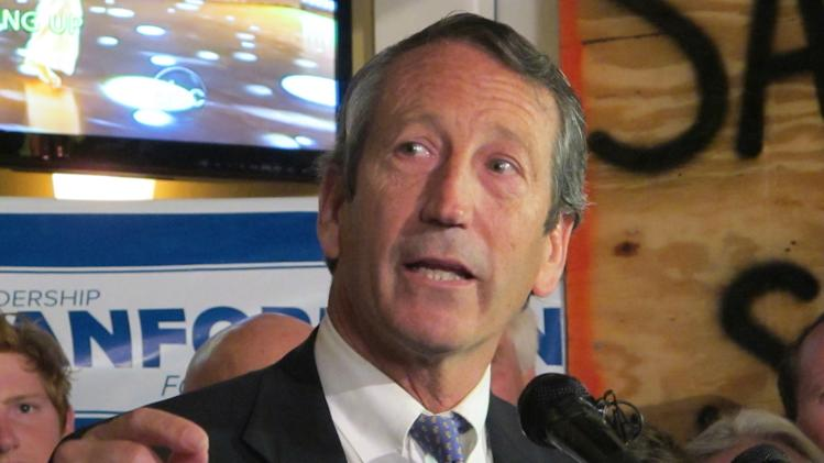 Former South Carolina Gov. Mark Sanford addresses supporters in Charleston, S.C., on Tuesday, March 19, 2013, after advancing to the GOP primary runoff in a race for a vacant South Carolina congressional seat. Sanford, trying to make a political comeback, was one of 16 Republicans running in Tuesday's primary. (AP Photo/Bruce Smith)
