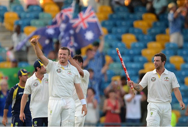 Australian cricketers celebrate their vi