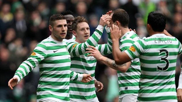 Kris Commons scored twice as Celtic eased to victory