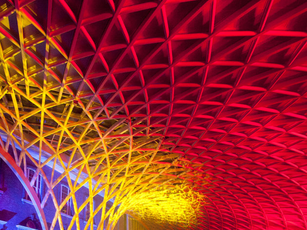 The new concourse is unveiled at King's Cross train station in London, Wednesday, March 14, 2012.  The new King's Cross station concourse, will be a new major London landmark which is expected to serve some 45 million passengers a year.(AP Photo/Brynjar Gauti)