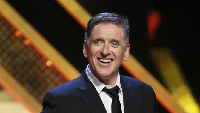 """Comedian Craig Ferguson accepts the Outstanding Game Show host award for his show """"Celebrity Name Game"""" at the 42nd Annual Daytime Emmy Awards in Burbank"""