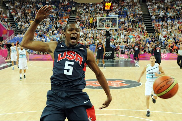 US forward Kevin Durant jumps for the ba