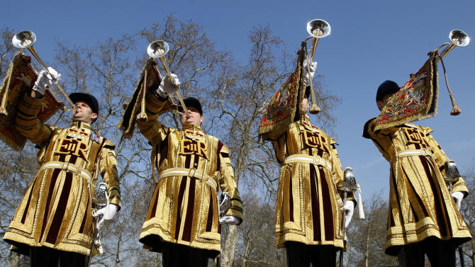 State trumpeters of the Household Cavalry Regiment during a media facility at Wellington Barracks in London,  Wednesday, March 21, 2012. Details of the military personnel and uniforms to be used at the Diamond Jubilee in June were announced. (AP Photo/Kirsty Wigglesworth)