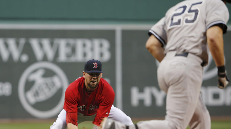 Boston Red Sox starting pitcher Anthony Ranaudo fields a ground ball back to the mound by New York Yankees' Mark Teixeira during the first inning of a baseball game at Fenway Park in Boston on Friday, Aug. 1, 2014. (AP Photo/Winslow Townson)