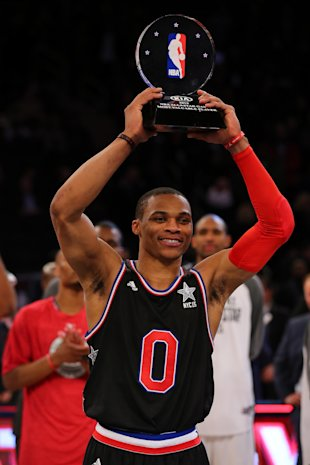 Russell Westbrook celebrates commerce. (Photo by Elsa/Getty Images)