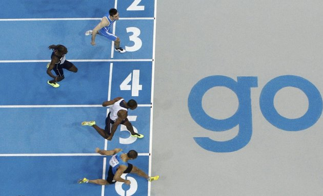 Athletes finish in the 60m Men Final at the European Athletics Indoor Championships in Gothenburg