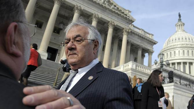 Retiring Rep. Barney Frank, D-Mass. talks on Capitol Hill in Washington, Thursday, Jan. 3, 2013, prior to the start of the 113th Congress. Joseph Kennedy III is scheduled to be sworn in Thursday, replacing Frank. (AP Photo/Cliff Owen)